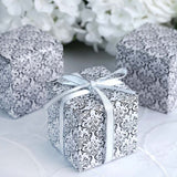 "100 PCS | 3""x 3""x 3"" Black/White Wholesale Damask Flocking Favor Gift Cake Boxes"