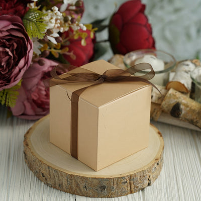 "100 PCS | 3""x3"" Tan Party Favor Boxes"