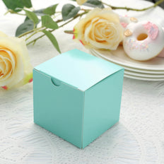 "100 PCS | 3""x3"" Turquoise Party Favor Boxes"