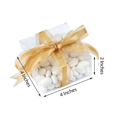 "25 PCS | 4""x4""x2"" Clear Cake Party Favor Boxes"
