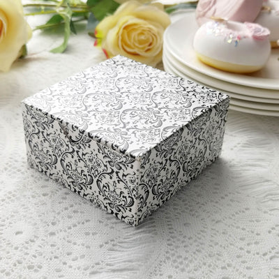 "100 PCS | 4""x4""x2"" Damask Flocking Cake Party Favor Boxes"
