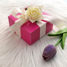 "100 PCS | 4""x4""x2"" Fushia Cake Party Favor Boxes"