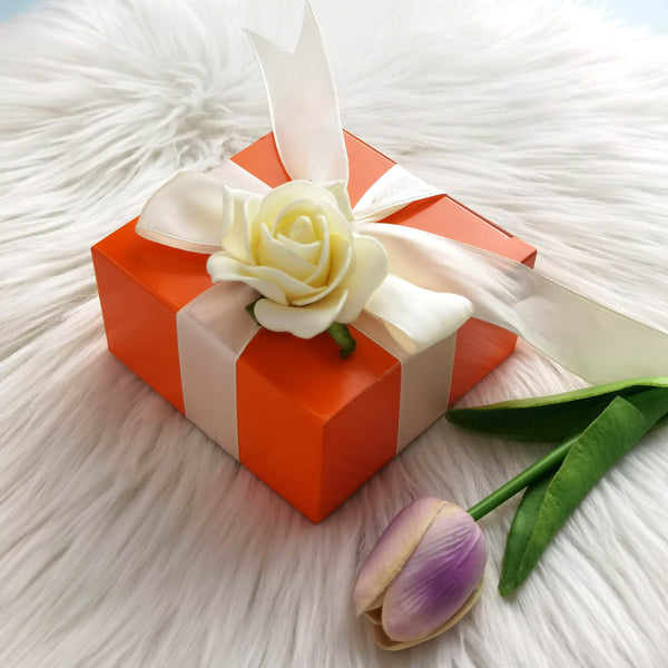 "100 PCS | 4""x4""x2"" Orange Cake Party Favor Boxes"