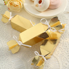 25 Pack | Candy Shape Favor Boxes with Satin Ribbons | Metallic Gold Cardboard Wedding Gift Boxes