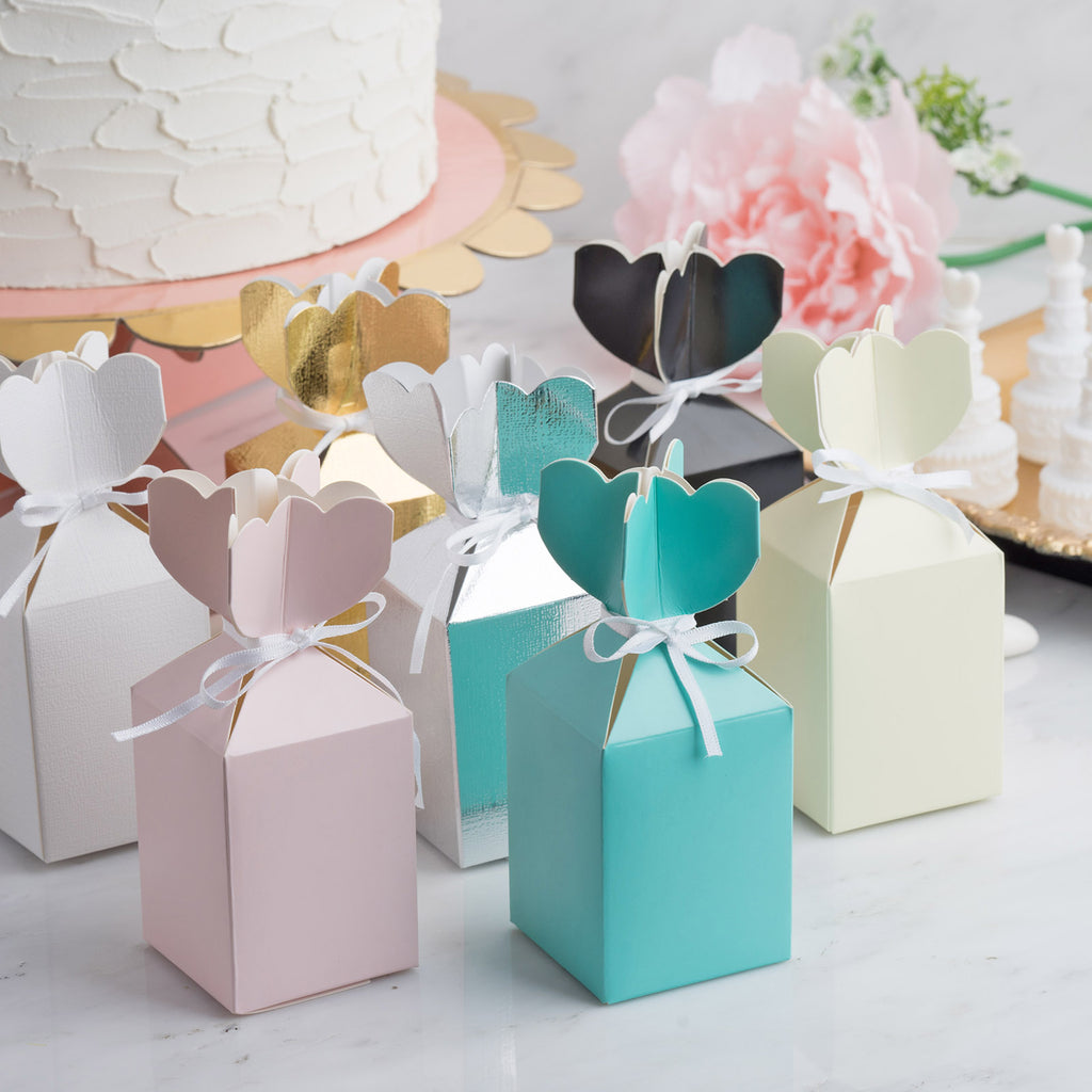 Wedding Favor Boxes.25 Pack Vase Shape Favor Boxes With Satin Ribbons Metallic Gold Cardboard Wedding Gift Boxes