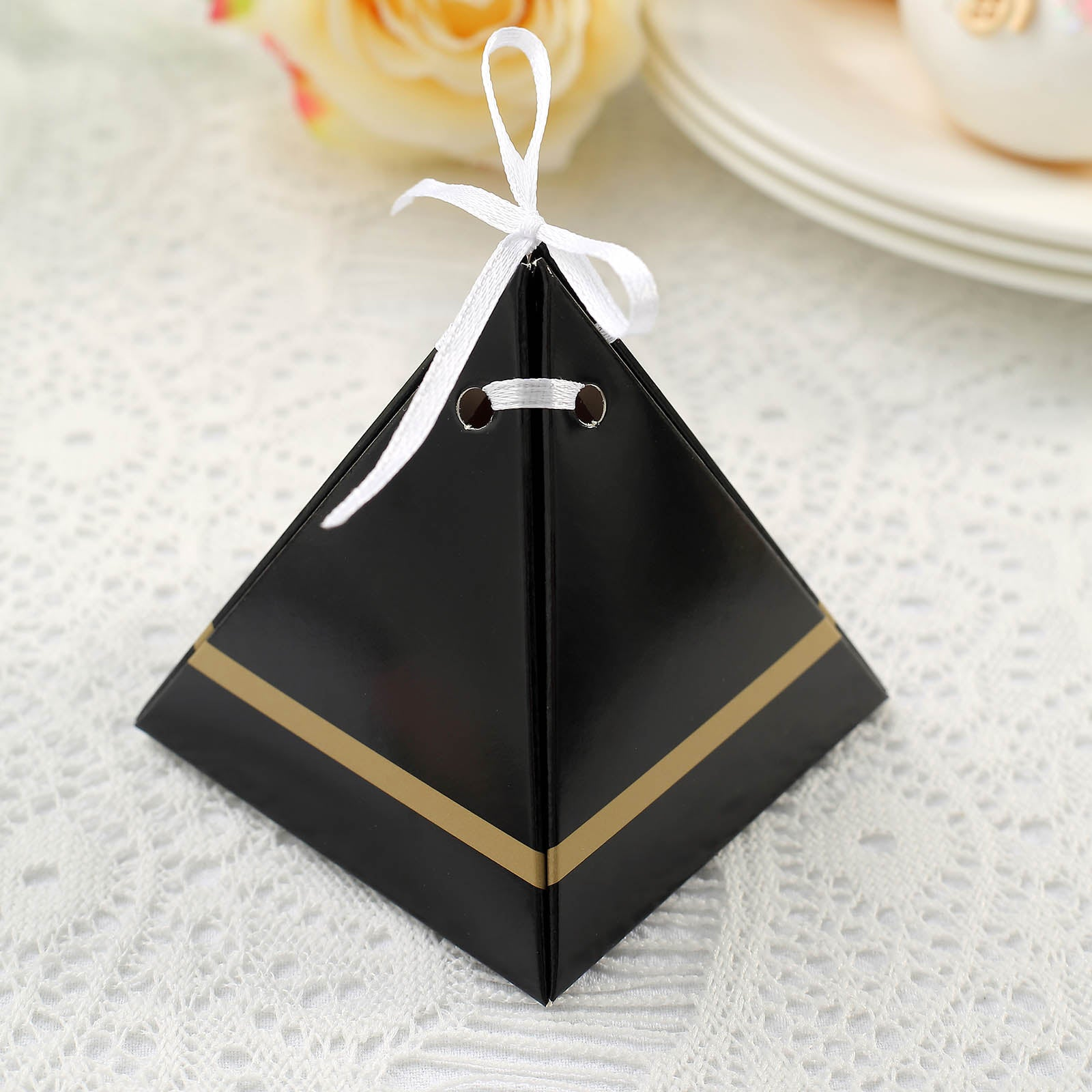 Solid Pyramid Wedding Favor Boxes Choose Color Pack of 25