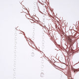30'' Rose Gold | Blush Glittered Manzanita Centerpiece Tree + 8pcs Acrylic Chains