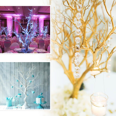 30'' Metallic Rose Gold | Blush Manzanita Centerpiece Tree + 8pcs Acrylic Chains