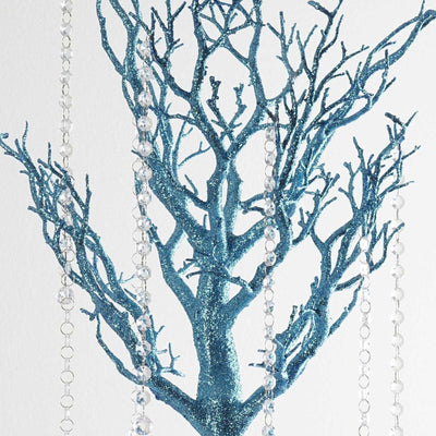 "30"" Glittered Vogue Manzanita Centerpiece Tree - Turquoise"
