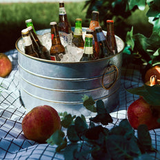 10 inch Rustic Galvanized Metal Buckets - Round Party Beverage Tub with Gold Handles