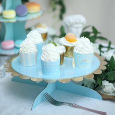 "1 Tier | 13"" Blue Cardboard Cupcake Stand 