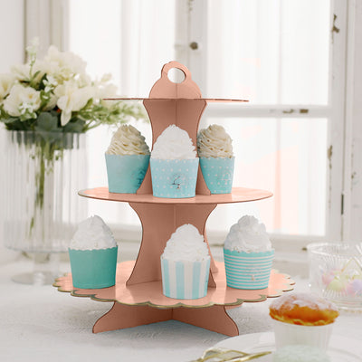"3 Tier | 13"" Blush/Rose Gold Cardboard Cupcake Stand 