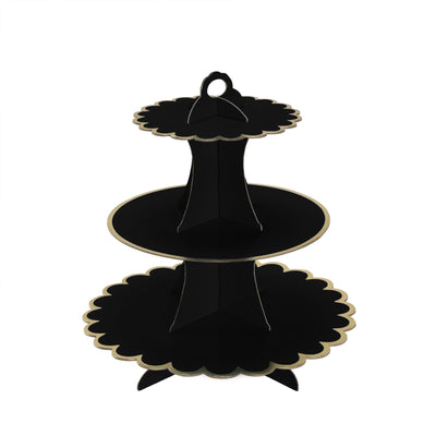 "3 Tier | 13"" Black Cardboard Cupcake Stand 
