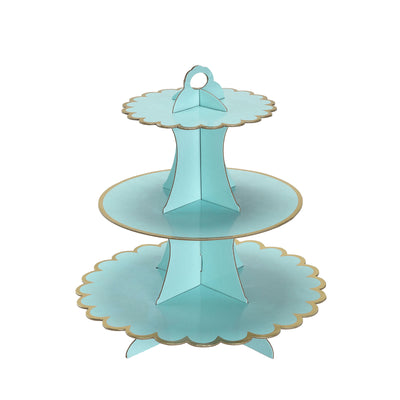 "3 Tier | 13"" Blue Cardboard Cupcake Stand 