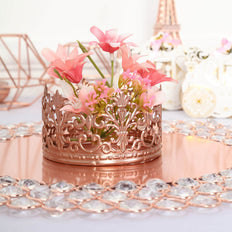 Blush | Rose Gold Silver Metal Princess Crown Cake Topper | Wedding Cake Toppers