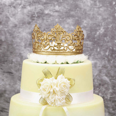 Gold Metal Princess Crown Cake Topper