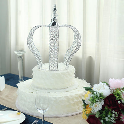 "16"" Silver Crystal Metallic Royal Crown Cake Topper 