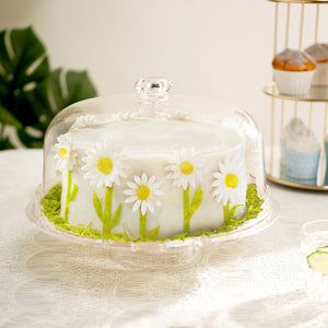 "12"" Clear Acrylic Cake Stand, Multifunctional Serving Platter, 6 in 1 Cake Plate with Dome Lid"