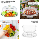 12 inch Clear Plastic Cake Stand with Dome, Cake Dome