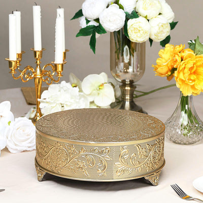 "14"" Gold Embossed Round Cake Plateau, Metal Cake Stand Cake Riser"