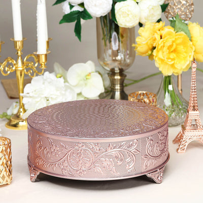 "14"" Rose Gold Embossed Round Cake Plateau, Metal Cake Stand Cake Riser"