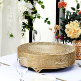 "18"" Gold Embossed Round Cake Plateau, Metal Cake Stand Cake Riser"