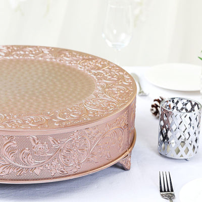 "18"" Rose Gold Embossed Round Cake Plateau, Metal Cake Stand Cake Riser"