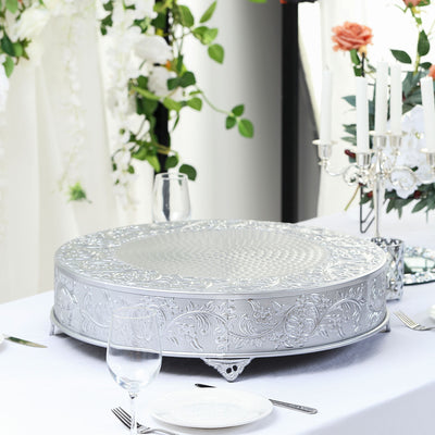 "22"" Silver Embossed Round Cake Plateau, Metal Cake Stand Cake Riser"