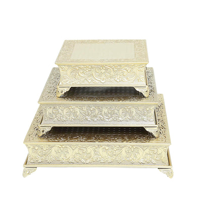 "14"" Gold Embossed Square Cake Plateau, Metal Cake Stand Cake Riser"