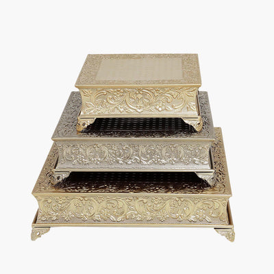 "18"" Gold Embossed Square Cake Plateau, Metal Cake Stand Cake Riser"