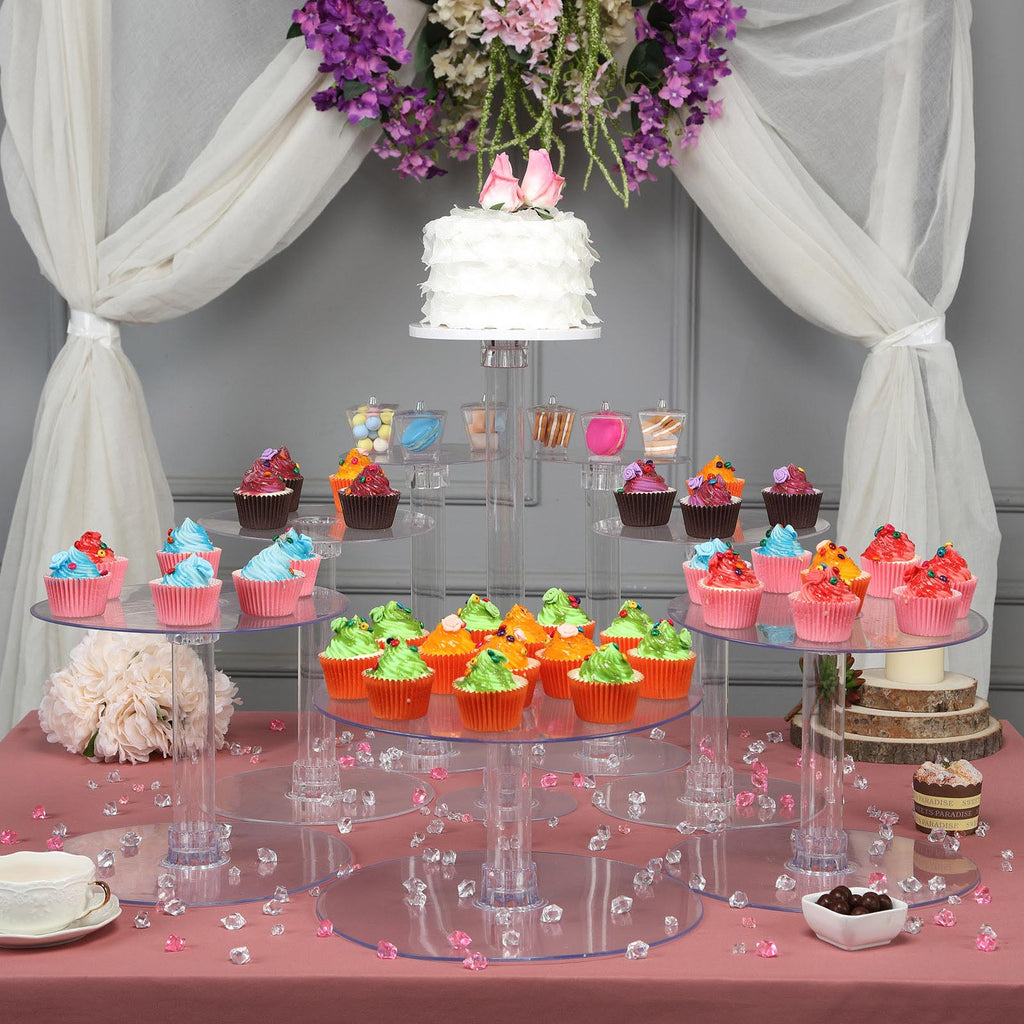 8 Tier Clear Acrylic Cupcake Cake Stand Tablecloths