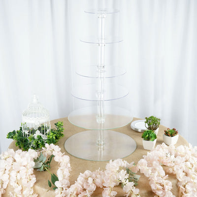 6 Tier Clear Round Acrylic Cupcake Cake Stand - 18""