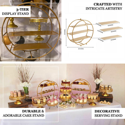 "21"" Gold Metal Tiered Cupcake Stand 