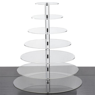 7 Tier HEAVY DUTY Acrylic Crystal Glass Cupcake Dessert Decorating Stand For Birthday Xmas Party Wedding