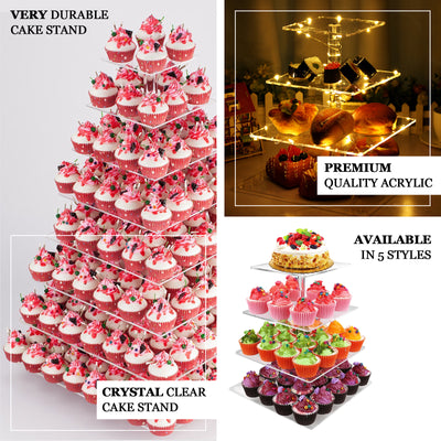 "4 Tier Acrylic Square Cupcake Stand | 12.5"" Height 