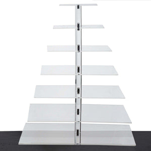 7 Tier Square HEAVY DUTY Acrylic Crystal Glass Cupcake Dessert Decorating Stand For Birthday Xmas Party Wedding