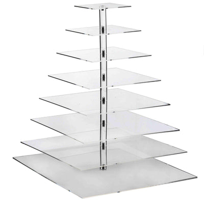 8 Tier Square HEAVY DUTY Acrylic Crystal Glass Cupcake Dessert Decorating Stand For Birthday Xmas Party Wedding
