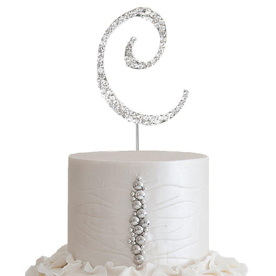 "2.5""  Silver Rhinestone Letter Cake Toppers"