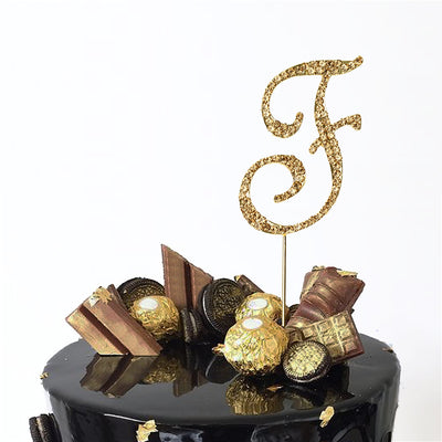 "2.5"" Gold Rhinestone Letter Cake Toppers"