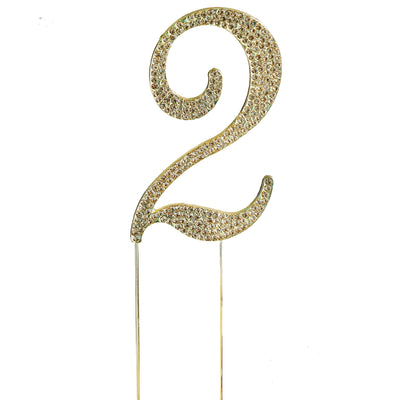 "2.5"" Gold Rhinestone Number Cake Toppers"