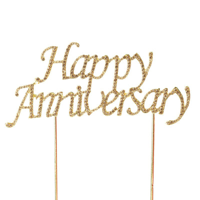"6.5"" Gold Happy Anniversary Cake Topper with Rhinestones"