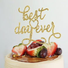"9"" Best Day Ever Gold Metallic Cake Topper with Rhinestones"