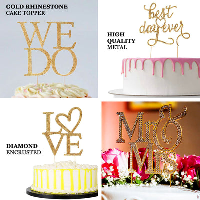 "9"" Mr & Mrs Metallic Gold Rhinestone Cake Topper"