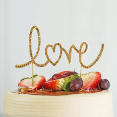 "6.75"" Gold Metallic Love Crystal Rhinestone Cake Topper"