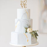 "9.5"" Gold Rhinestone Love Cake Topper"
