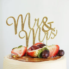 Mr & Mrs Gold Rhinestone Wedding Cake Topper