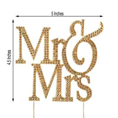 "4"" Mr & Mrs Metallic Gold Rhinestone Cake Topper"