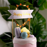 Happy Birthday LED Cake Topper, Floral Wreath Cake Topper With Flashing Light