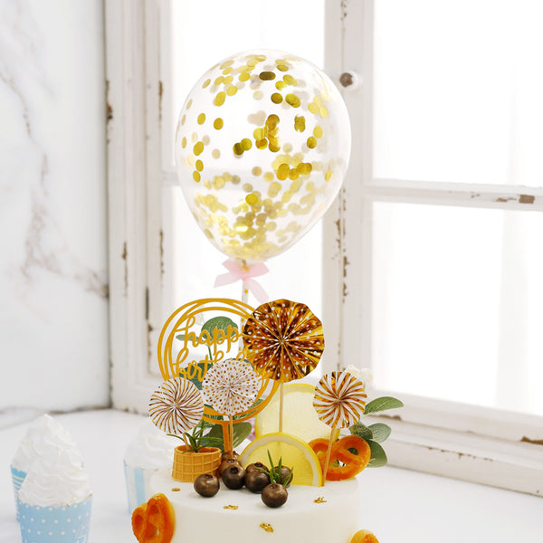 6Pcs | Cake Decor Set, 4 Gold/White Mini Paper Fans, Gold Confetti Balloon and Gold Birthday Cake Topper