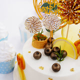 Cake Decor Set, 4 Gold/White Mini Paper Fans, Gold Confetti Balloon and Gold Birthday Cake Topper